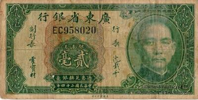20 центов 1935 г. (Kwangtung Province)